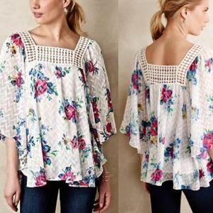 Anthro Meadow Rue Lace Kimono Sleeve Top S